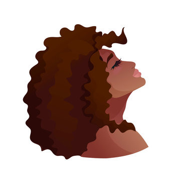 Portrait of young african american woman, head up