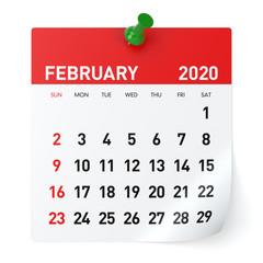February 2020 - Calendar. Isolated on White Background. 3D Illustration