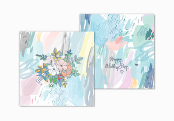Gentle Floral Cards Layout Set