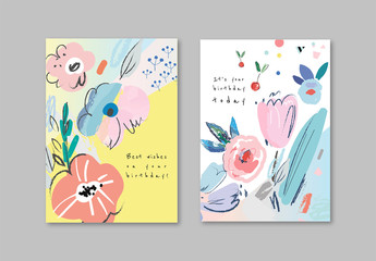 Floral Card Layout Set with Painted Elements
