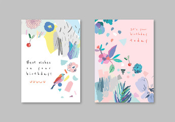 Birthday Card Layout Set with Illustrative Elements
