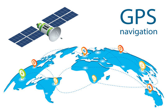 Isometric GPS navigation in the phone with a red pointer. Gps tracking map. Air cargo trucking rail transportation maritime shipping On-time delivery Vehicles designed to carry large numbers cargo