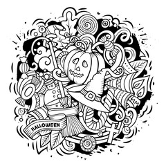 Cartoon doodles Happy Halloween illustration. Sketchy funny round picture