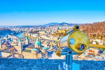 The viewing machine on Hohensalzburg Castle's bastion, Salzburg, Austria