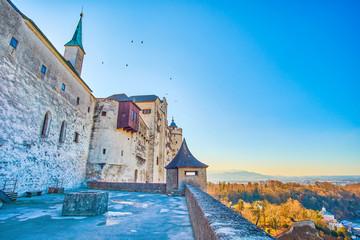 The medeival bastion of Hohensalzburg Castle, Salzburg, Austria