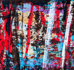 Abstract art illustration, with splashes, stripes and swirls of multicolor paint, as a fun, creative & inspirational background texture.