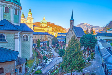 The view on St Peter cemetery in Salzburg, Austria