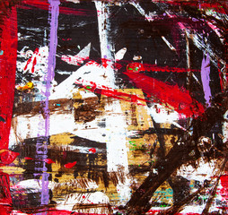 Abstract art illustration, with splashes & stripes of multicolor paint, as a fun, creative & spontaneous grunge background texture.