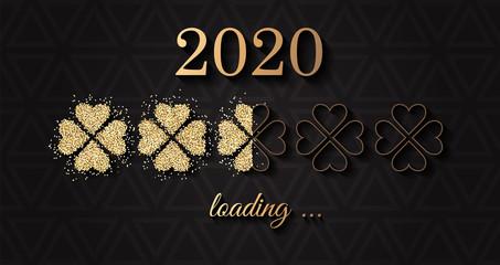 2020 Silvester Vektor Hintergrund Banner schwarz gold