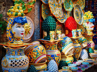 Fototapeta ceramic craft items on sale in Sicily Italy