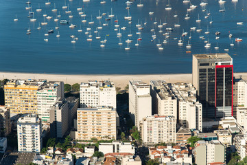 Buildings in Front of the Botafogo Beach and Many Boats in Water, Aerial View in Rio de Janeiro, Brazil