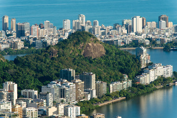 Residential Buildings Around Lagoon and Hills in Rio de Janeiro, Brazil