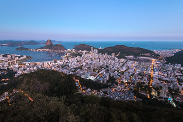 View of Rio de Janeiro City With the Sugarloaf Mountain in the Evening