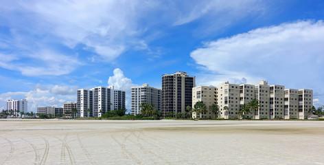 Condos and timeshares on Fort Myers Beach, Florida, USA.