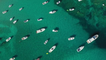 Wall Mural - View from above, stunning aerial view of the beautiful Cala Di Volpe bay full of boats and luxury yachts. A turquoise sea bathes the green and rocky coasts. Emerald Coast, Sardinia, Italy.
