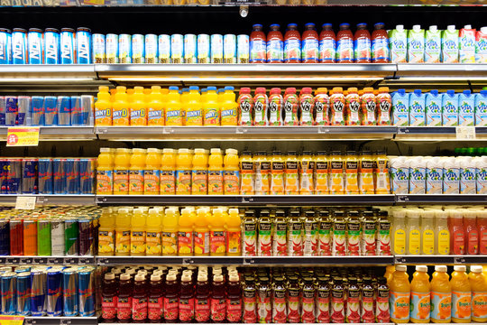 Las Vegas, US - NOV 18, 2018: Wide selection of bottled sweet beverage on shelf display in a convenient store at Las Vegas, Nevada, United States