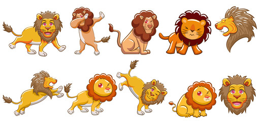 lion vector set graphic clipart design