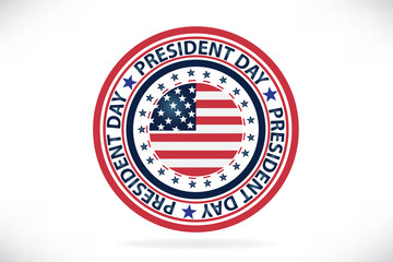 President Day seal stamp USA flag vector