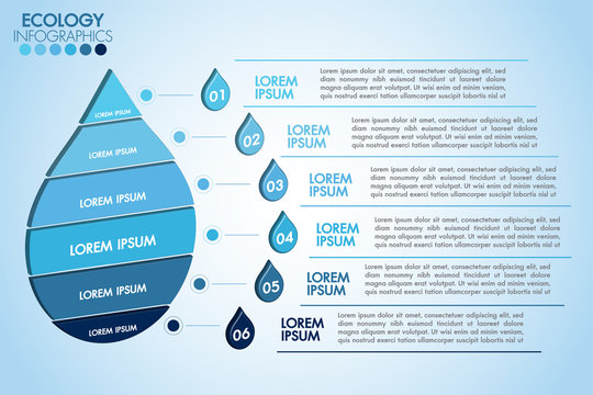 Infographic eco water blue design elements process 6 steps or options parts with water drop. Ecology organic nature vector business template for presentation.