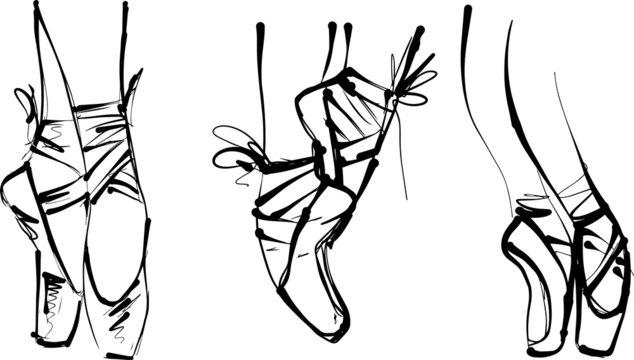 vector illustration of ballerina feet en pointe