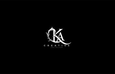 Obraz Initial Letter KA Linked Monogram Floral Modern Gothic Logotype - fototapety do salonu