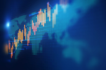 stock market investment graph with indicator and volume data. Wall mural