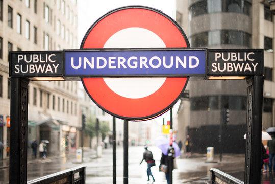 LONDON, ENGLAND UK - NOVEMBER 9, 2013: London underground station entrance