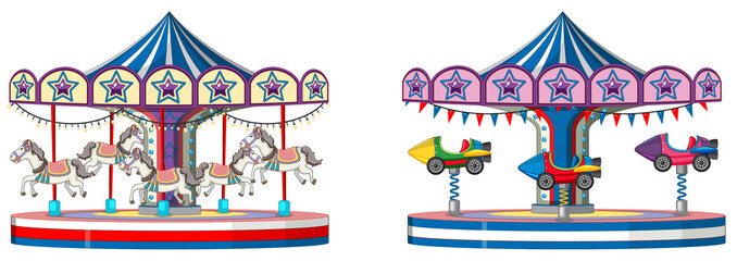 Two designs of merry go round on white background