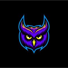 Canvas Prints Owls cartoon Owl head vector, owl gaming logo