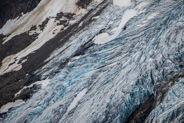 Bugaboo glacier coming down from height of Bugaboo mountains in British Colombia, Canada