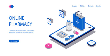 Online pharmacy shopping. Visualization on screen mobile phone the tablets and package, modern concept medicine, receipt of check, search for drugs online. Vector isometric illustration.