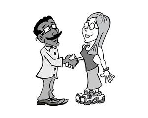 Man and woman handshake cross-cultural black and white
