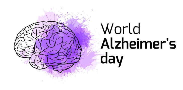 International Alzheimers Day. Horizontal card with outline human brain on purple watercolor stains. Disease and extinction. Vector banner for medical articles, banners, cards and your design.
