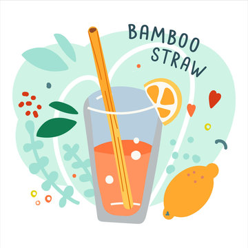 Hand drawn cocktail with eco natural bamboo straw. Ecological lifestyle, zero waste and plastic free. Trendy cartoon style. Wooden straw on background with doodles, good for print poster, banner or st