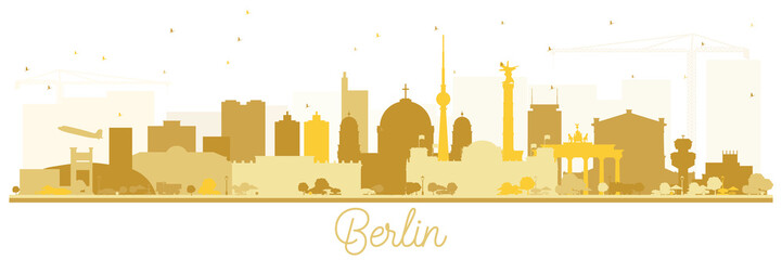 Berlin Germany Skyline Silhouette with Golden Buildings Isolated on White.