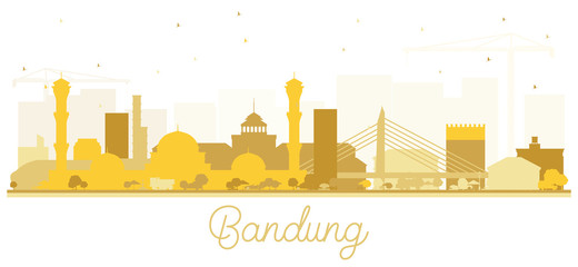 Bandung Indonesia City Skyline Silhouette with Golden Buildings Isolated on White.