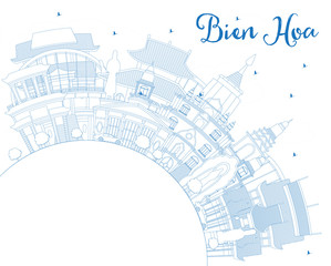 Outline Bien Hoa Vietnam City Skyline with Blue Buildings and Copy Space.