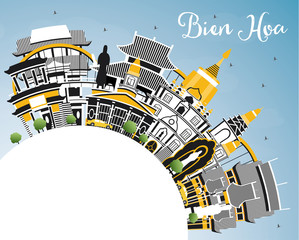 Bien Hoa Vietnam City Skyline with Gray Buildings, Blue Sky and Copy Space.