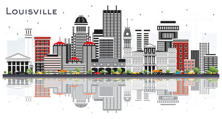 Louisville Kentucky USA City Skyline with Gray Buildings and Reflections Isolated on White.