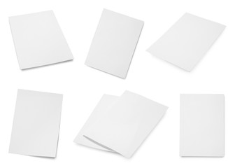 Set of blank brochures on white background. Mock up for design Wall mural