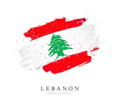 Lebanon flag. Vector illustration on a white background.