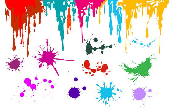 Ink splash set. Splatter, drop, flowing liquid. Painting concept. Vector illustrations can be used for abstract art, inkblot, grunge