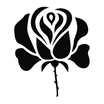 Vector illustrations of silhouette of stylized a rose flower
