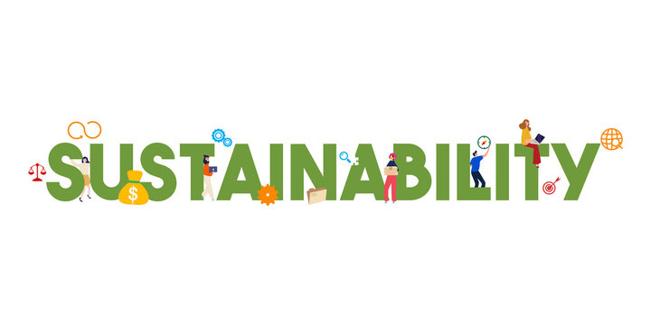 Banner sustainability concept. Society, environment and economy vector illustration. Sustainable development strategy.