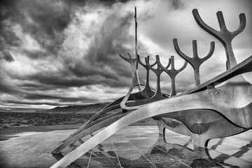 Sun Voyager monument with clouds, landmark of Reykjavik city