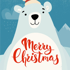 Merry Christmas vector card design with funny Christmas character.