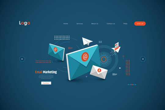 Email service isometric vector illustration. E-mail marketing concept, marketing research.