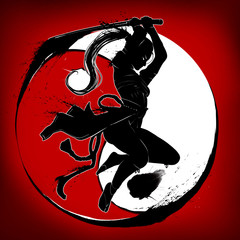 Ninja girl with katana jumps attacking . On the background of the symbol yinyan red. 2D illustration.