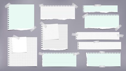 Set of torn white and green note, notebook strips, lined and squared paper pieces stuck with sticky tape on grey background. Vector illustration Wall mural