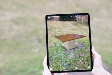 Augmented reality tablet app - previewing outdoor table